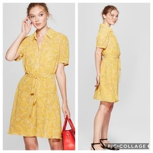 A New Day Mustard Chains and Pearls Printed Dress